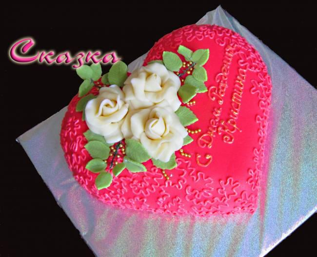 Торт сердце с розами торты с цветами